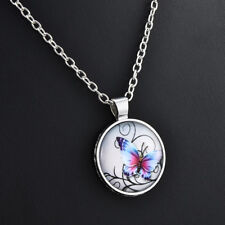 Fashion Mystical Butterfly Pendant Cabochon Glass Chain Silver Necklace Jewelry