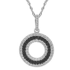 """Sterling Silver, Black & Clear CZ Round Pendant with 17.5"""" Extension Chain"""