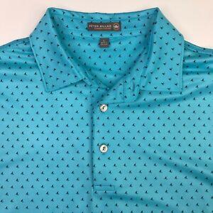 RARE Peter Millar Summer Comfort Blue Golf Polo Shirt w Shark Fin Print Large L