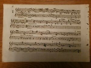 One Beautiful antique Lithograph printed 18th century music sheet. 24cm x 16cm