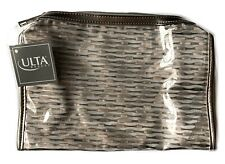 "ULTA Large Makeup Cosmetic Bag Approx 8"" x 6"" x 2"" Gold/ Metalic/Clear~Nice Size"