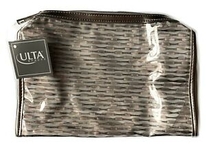 "ULTA Large Makeup Cosmetic Bag Approx 8"" x 6"" x 2"" Gold/ Metalic/Clear~Nice Size"