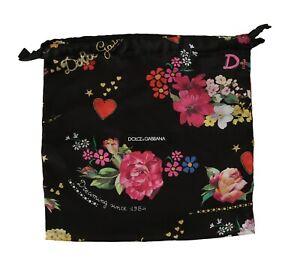 DOLCE & GABBANA Dustbag Cover Bag Black Floral Drawstring Shoebag 26cm x 27cm