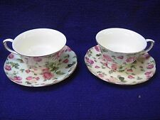 Lot of 2 Sets of Rose Chintz Tea Cups and Saucers Bella Lux by Gracie China