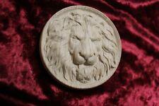 """Decorative lion head, wooden Carved lion rosette. Oak wooden element. 6"""""""