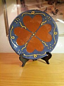"1985 Turtle Creek Pottery Country Folk Art Redware HEARTS 10"" PLATE Sandy Hilton"