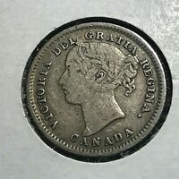 1886  CANADA SILVER 10 CENTS LARGE 6 SCARCE COIN