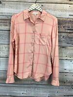 Maurices Small Long Sleeve Buttton Front Plaid Shirt Peach Pink 0435