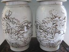 Pair of Peculiar Beautiful White De Hua Porcelain Vase Wish Lotus Flower Pattern