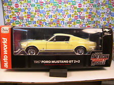 YELLOW 1967 FORD MUSTANG GT 2+2 AUTO WORLD 1:18 SCALE DIECAST METAL MODEL CAR