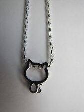 "Cat-Kitten-Kitty on a Silver Plated 23"" Necklace"