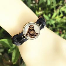 Sloth jewelry Black Glass leather & chord Bracelet charm -unisex adjustabl-SL803