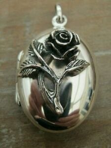 Beautiful Antique Style Solid Silver 925 Rose Photo Locket / Pendant - Family