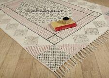 Hand Woven Block Printed Cotton Area Rug 4 x 6 Feet Large Rug Carpet Indian Mat