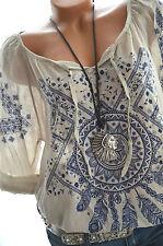 ITALY MODA Tunika Folklore Bluse FEDERN Oversize Hemd 40 42 44 SAND BLAU Neu