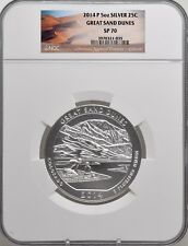 2014 P 5oz Silver 25C Great Sand Dunes NGC SP 70 perfect must see!