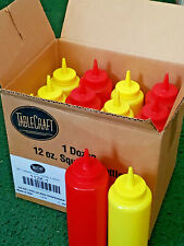 12 One Dozen Squeeze Bottles 12 oz 6 Ketchup 6 Mustard Dispensers Tablecraft