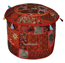 Indian Handmade Round Pouf Cover Vintage Red Cotton Ottoman Patchwork Home Decor