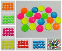 100 Neon Color Flatback Acrylic Round Rhinestone Gems 10mm No Hole Pick Color