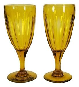 """NEW ENGLAND GLASS COMPANY CANARY 6 3/8"""" Cut Blown Stem 1850's ~ Set of 2"""
