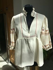 BNWT Pink Diamond Cream Embroidered Gypsy Style Top size XL
