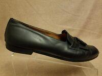 Salvatore Ferragamo Men Black Leather Loafers Tassel Slip On Dress Shoes Sz 12 D