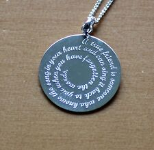 FREE ENGRAVING (PERSONALIZED) Sterling Silver Friend Pendant Necklace