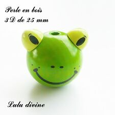 Perle en bois de 25 mm, Perle 3D Tête de grenouille : Vert