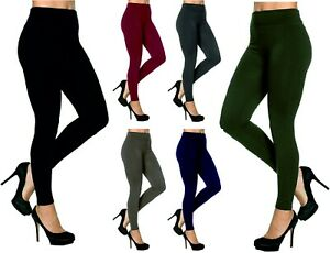 Womens Leggings Warm Fleece Tummy Control Lined High Waist Size Ladies Girls NEW