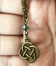 Outlander Scotland Gaelic Celtic Knot Cross Antique Brass Scottish Long Necklace