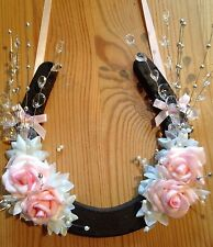 Good Luck Horseshoe Bridal Gift Pink Roses Spray Crystals  Ivory