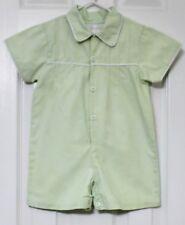 Lovely Strasburg Btq. Gingham Green Pin-tucks PeterPan Collar Romper Boy Sz 24Ms