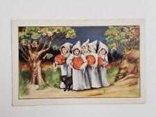 Vtg Early 1900's Unused Halloween Postcard Black Cat Ghost Costume Girls Pumpkin