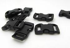 "12pcs 3/8"" Curved Side Release Plastic Buckle  for Paracord Bracelet Black"