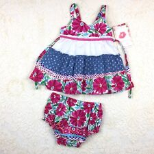 2pc Baby Girls 12M Sun Dress Panties Play Set Polka Dot Blue Pink Summer July