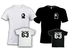 T-shirt BUD SPENCER bulldozer 63 cotone nera o bianca unisex film stampa schiena