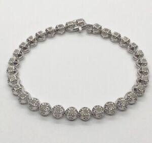 "Vintage Diamond Sterling Silver Bracelet 925 Tennis 7.25"""