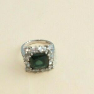 QVC Diamonique by Joseph Esposito Green Pave Set Cluster Sterling Ring, Sz 8