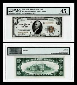 1929 $10 THE FEDERAL RESERVE BANK OF NEW YORK ,NY FR.1860-B ~~ PMG EF45