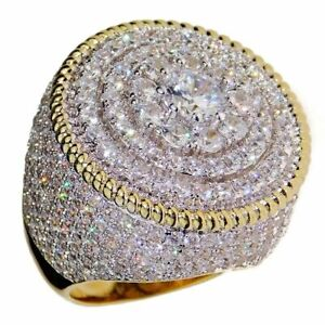 Men's Flower Cluster Ring 20MM 14K Gold Plated 2-Tone Round CZ Micro Pave 7-13