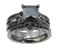 Black Cubic Zirconia on Black Rhodium Ring Set