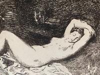 Baraize Gravure Eau Forte Etching Etude De Femme Nue Nu Nymphe Endormie