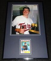 Frank Viola Signed Framed 11x17 Photo Display Twins w/ World Series Trophy