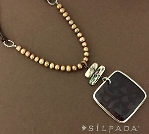 SILPADA Sterling Silver ETCHED SHELL Pearl Brown Leather Necklace~N1803~RETIRED!