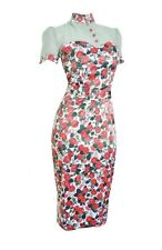 New Pinup Couture Lillian Garden Party Coral Rose Sweetheart Pencil Dress M