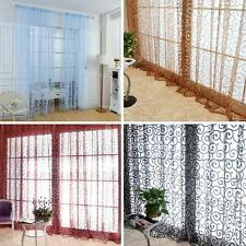 Floral Flocking Double S Shaped Tulle Curtain Sheer Scarf Window Curtain DQCA