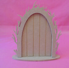 5x MDF Wooden Vine arched Fairy door with base craft blank