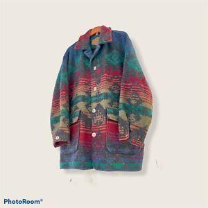 WOOLRICH Vintage Aztec Navajo Southwest Wool BLANKET JACKET Made in USA Men's XL