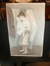 """Raphael Soyer Original 1940 Color Lithograph """"Young Woman Drying Herself"""" ed.300"""