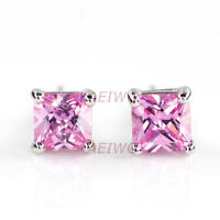 a02EARRINGS STUD 9K GF 9CT WHITE GOLD MADE WITH SWAROVSKI PINK CRYSTAL 5MM 0.5CT